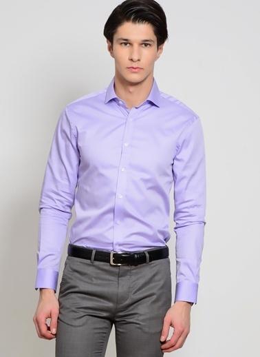 Cotton Bar Slim Fit Uzun Kollu Gömlek Mor
